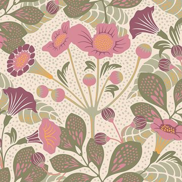 Picture of Tropisk Pink Floral Wallpaper