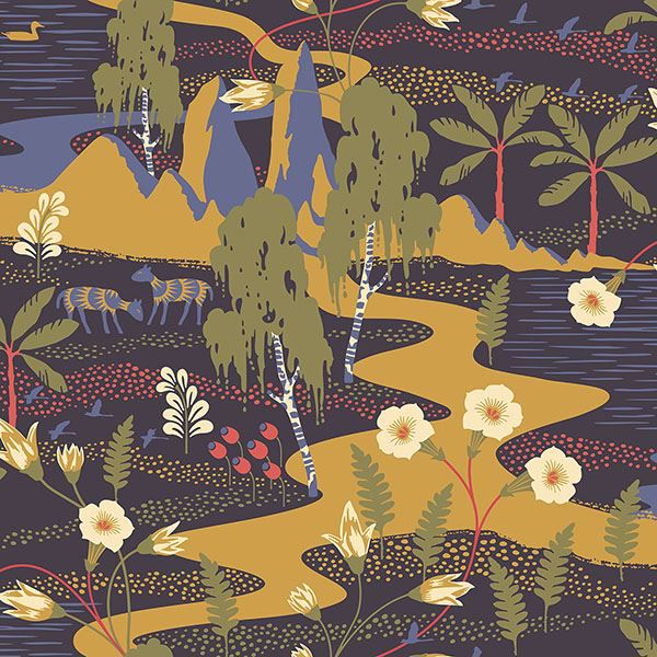 Picture of Magisk Navy Oasis Wallpaper