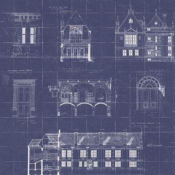 Picture of Estcourt Navy Blueprint Wallpaper