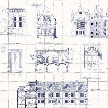 Picture of Estcourt White Blueprint Wallpaper