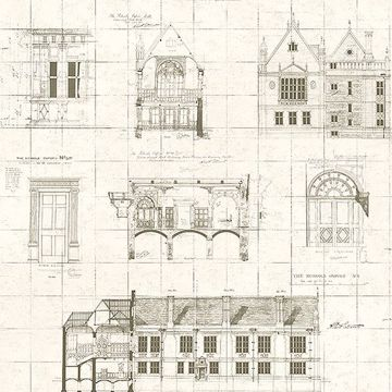 Picture of Estcourt Brown Blueprint Wallpaper