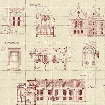Picture of Estcourt Maroon Blueprint Wallpaper