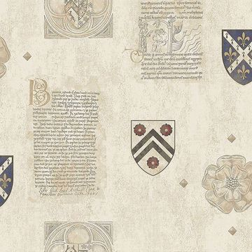 Picture of Scholar Beige Crest Wallpaper
