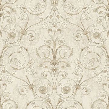 Picture of Curlicue Beige Scroll Wallpaper