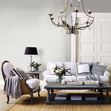 Picture of Luminous Silver Geometric Wallpaper