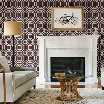 Picture of Daphne Maroon Trellis Wallpaper