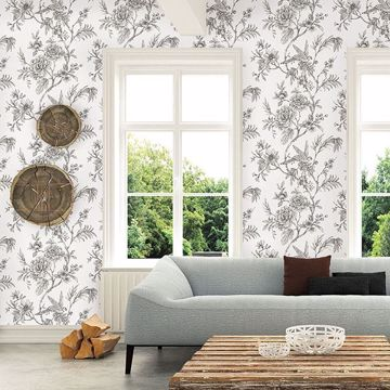 Picture of Jessamine Grey Floral Trail Wallpaper