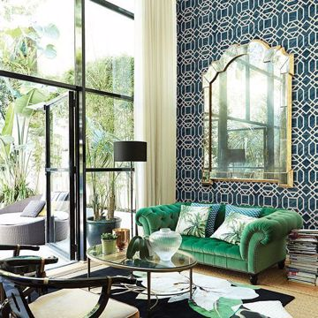 Picture of Daphne Blue Trellis Wallpaper