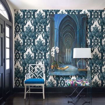 Picture of Dreamer Blue Damask Wallpaper