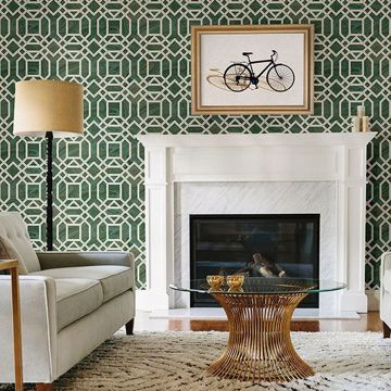 Picture of Daphne Green Trellis Wallpaper
