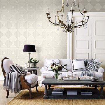 Picture of Luminous Platinum Geometric Wallpaper