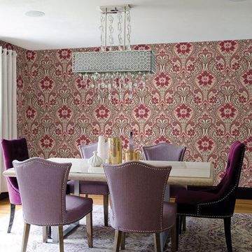 Picture of Night Bloom Coral Damask Wallpaper