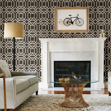 Picture of Daphne Brown Trellis Wallpaper