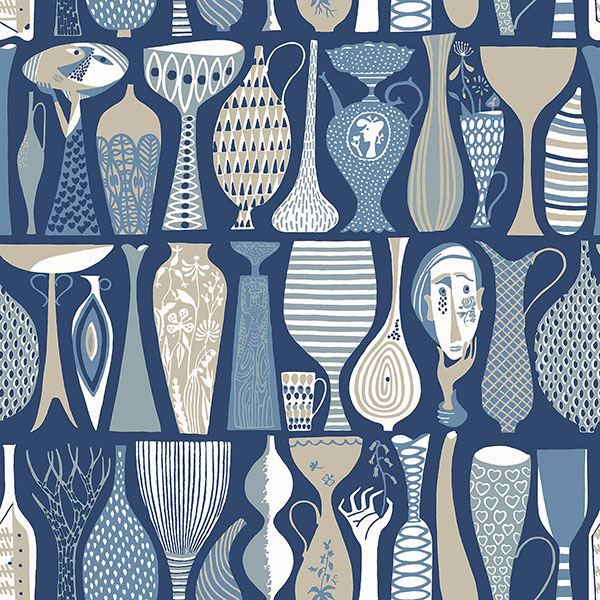 Picture of Pottery Blue Folk Wallpaper