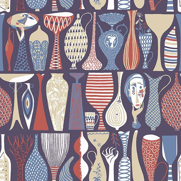 Picture of Pottery Red Folk Wallpaper
