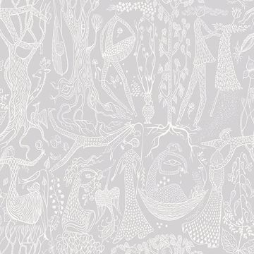 Picture of Poem d'Amour Light Grey Folk Wallpaper
