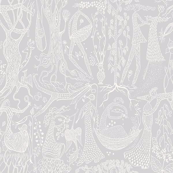 Picture of Poem d'Amour Light Grey Folk Wallpaper