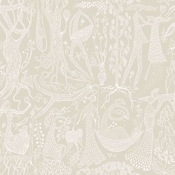 Picture of Poem d'Amour Taupe Folk Wallpaper