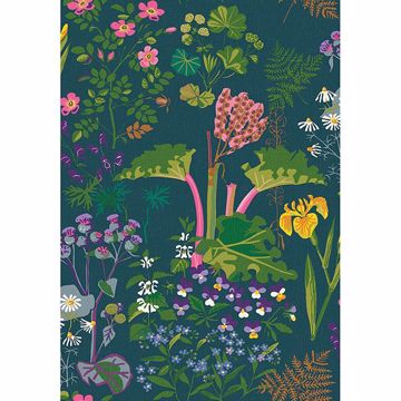 Picture of Rabarber Charcoal Floral Wallpaper