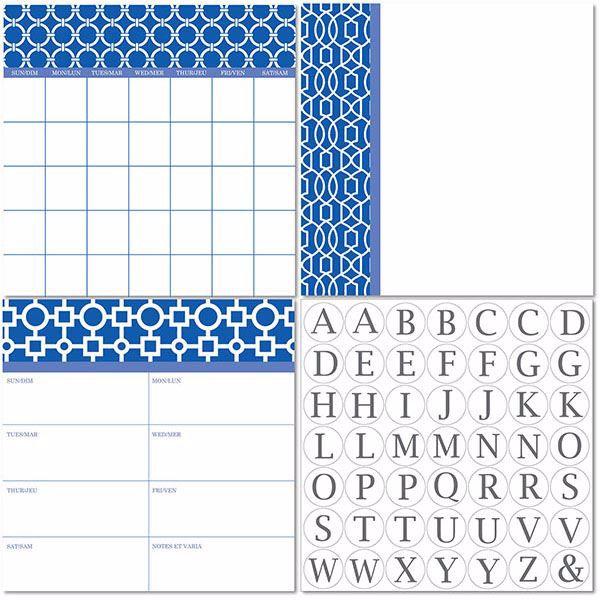 Picture of Soho Dry Erase 3pc Monograms - Bilingual Dry Erase Calendar Decal Kit