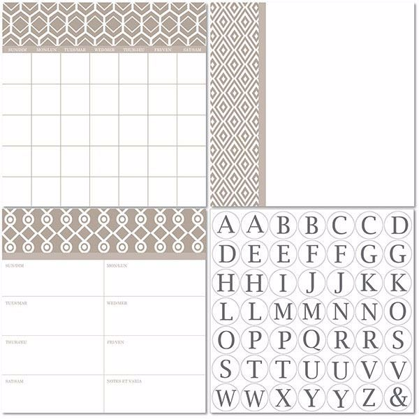 Picture of Camden 3pc Monograms - Bilingual Dry Erase Calendar Decal Kit