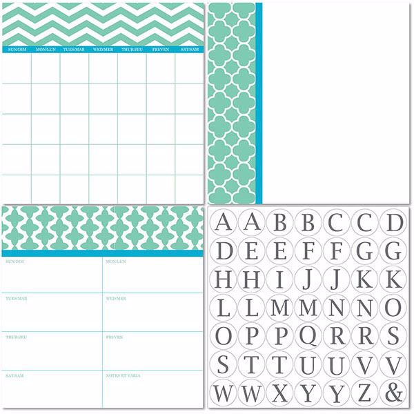 Picture of Notting Hill Dry Erase 3pc Monograms - Bilingual Dry Erase Calendar Decal Kit