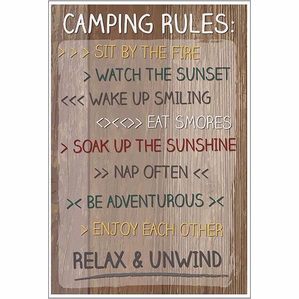 Picture of Camping Rules  Wall Quote
