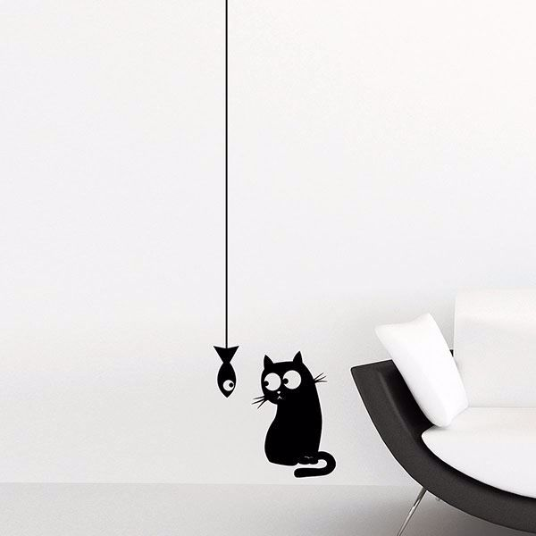 Picture of Cat & Fish  Wall Decals