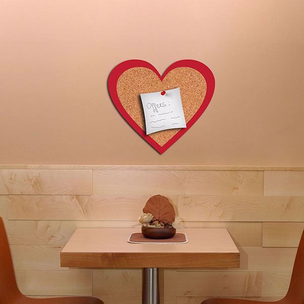 Picture of Heart Cork Decal Pin Board