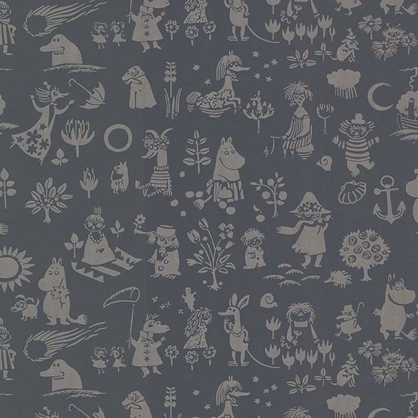 Picture of Moomin Black Novelty Wallpaper