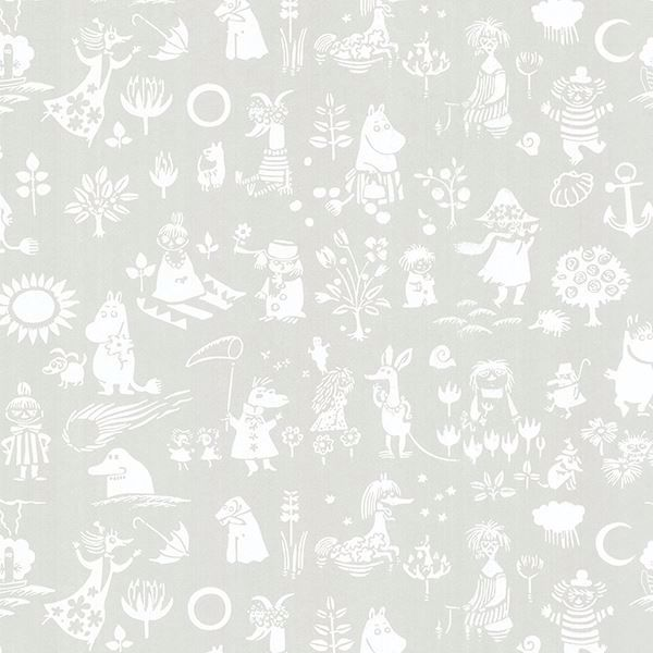 Picture of Moomin Light Grey Novelty Wallpaper