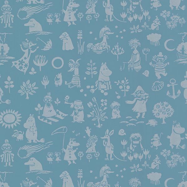 Picture of Moomin Blue Novelty Wallpaper