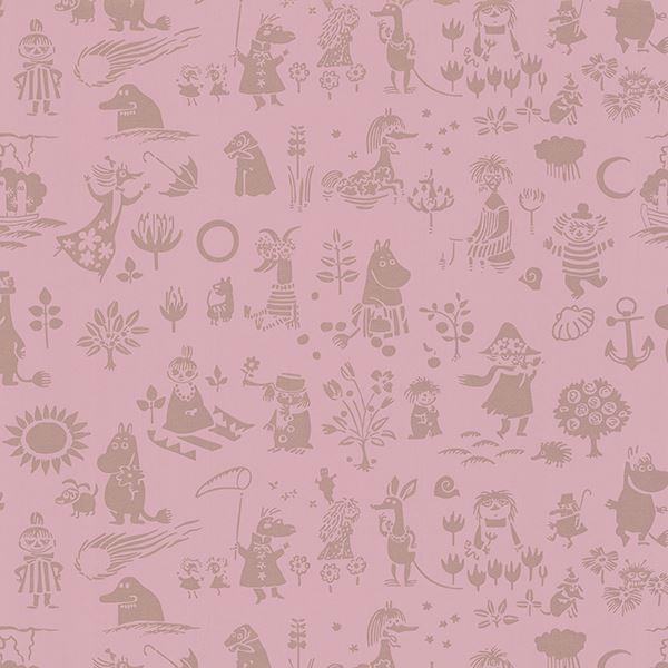 Picture of Moomin Pink Novelty Wallpaper
