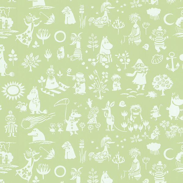 Picture of Moomin Green Novelty Wallpaper