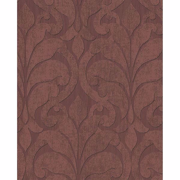 Picture of Damask Maroon Vallon Wallpaper