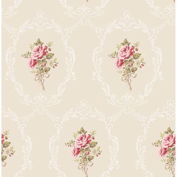 Picture of Camellia Gold Floral Cameo Wallpaper