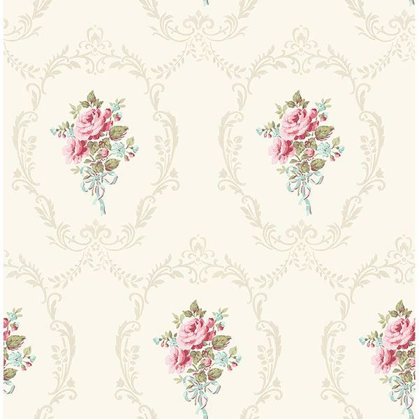 Picture of Camellia White Floral Cameo Wallpaper