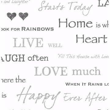 Picture of Happy Home Grey Text Wallpaper