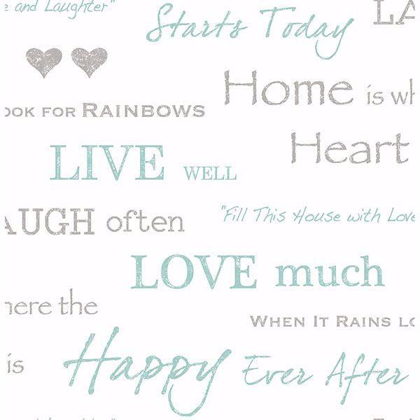 Picture of Happy Home Aqua Text Wallpaper