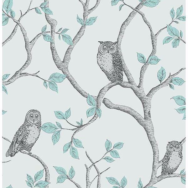 Picture of Linden Teal Owl Wallpaper