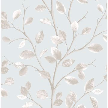 Picture of Beech Teal Leaf Wallpaper