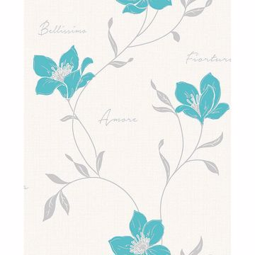 Picture of Mischa Teal Floral Wallpaper