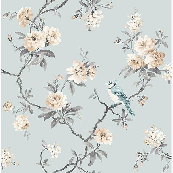 Picture of Chinoiserie Blue Floral Wallpaper