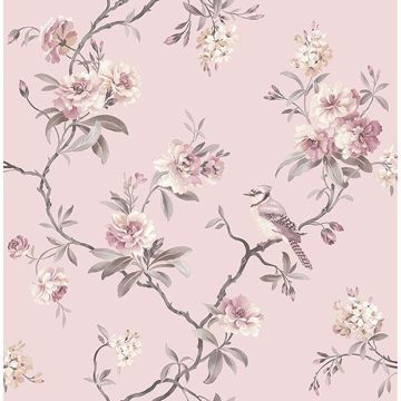 Picture of Chinoiserie Pink Floral Wallpaper