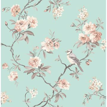 Picture of Chinoiserie Seafoam Floral Wallpaper