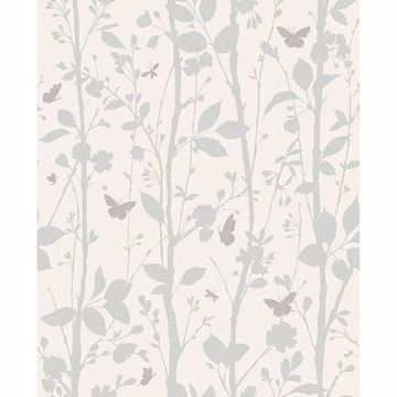 Picture of Dazzle Meadow Silver Butterfly Wallpaper
