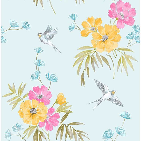 Picture of Riva Blue Floral Wallpaper
