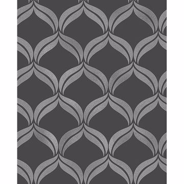 Picture of Wentworth Geo Black Ogee Wallpaper
