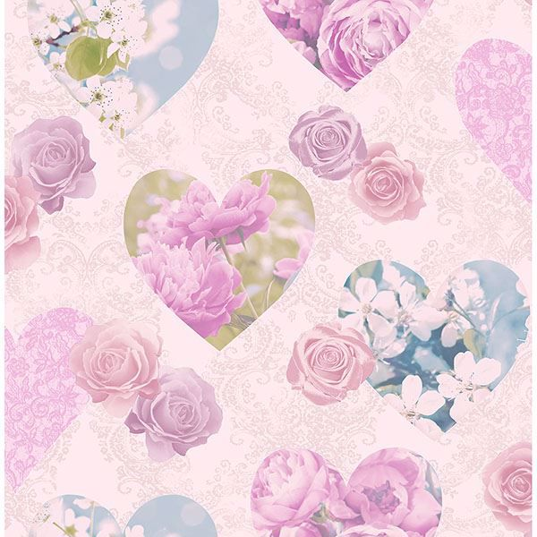 Picture of Amour Pink Floral Hearts Wallpaper