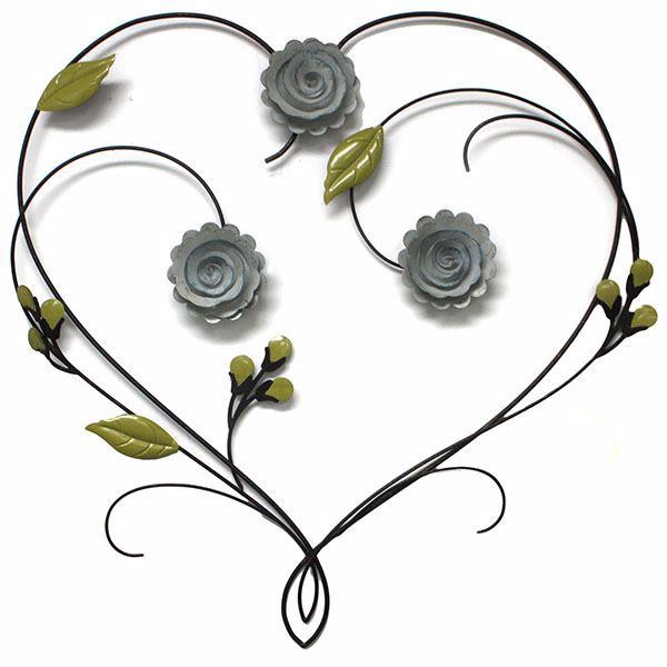 Picture of Leighton Bronze Floral Heart Metal Wall Art